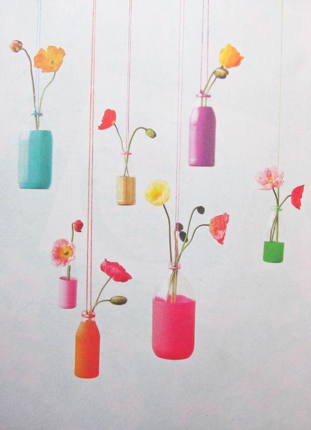 گلدان های آویز زیبا با بتری شیر و نوشابه